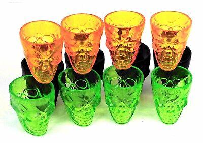 Vodka Shots Halloween (4 X Plastic Gothic Skull Head Shot Glass Vodka Whiskey Cup Halloween)