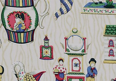 PKaufmann Fabric Off White Blue Pink Green Novelty Cotton  Drapery Upholstery  (Novelty Upholstery Fabric)