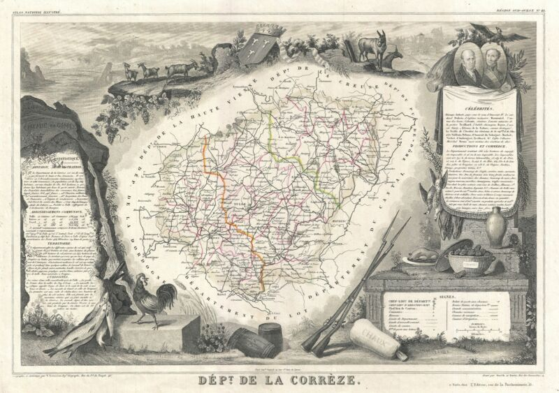 1852 Levasseur Map of the Department Correze, France (Straw Wine Region)