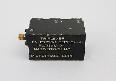 Microphase Triplexer Power Divider Model R2778 1  4 8 Ghz  8 12 Ghz  12 18 Ghz