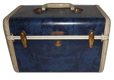 Vintage Samsonite Marbled Navy Make-Up Train Case luggage Suitcase Blue