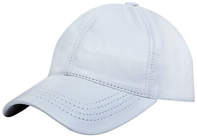 Herren Damen Echt Nappa Leder Weiß Verstellbar Golf Snapback Einfarbig Echt Leder Snap
