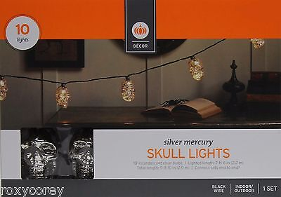 Halloween 10 ct Incandescent Clear Bulbs Silver Mercury Skull Lights Black Wire - Halloween Skull Lights