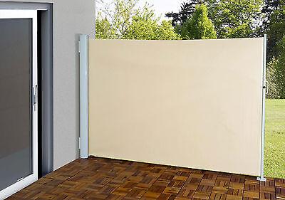 Seitenmarkise H139, Alu, 1,8x3m, creme, Sichtschutz Sonnenschutz Windschutz