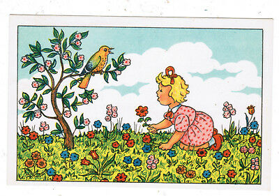 (JUDAICA JEWISH POSTCARD ISRAELI GIRL PICKING FLOWERS ILLUST RUSCHKEWITZ)
