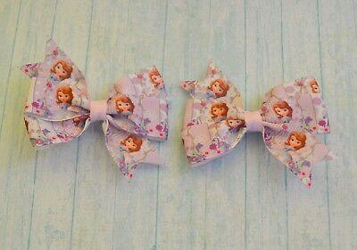 Princes Sofia pair of lovely hair bows/hair clips * Handmade craft