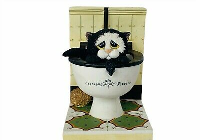 Comic Curious Cat bookend Linda Smith Toilet Down Pan figurine anthropomorphic