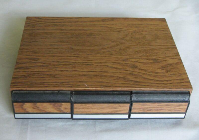 Vintage Faux Wood 3-Drawer Cassette Tape Storage Case 42 Capacity Wal-Mart