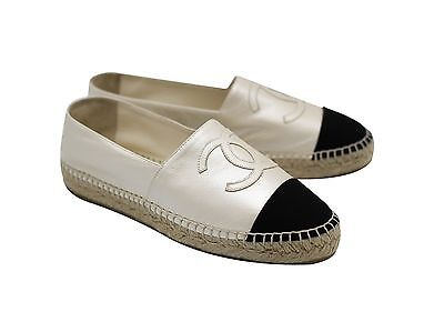 Authentic Chanel Classic Pearl White and Black Leather Espadrilles Size 39 Shoes