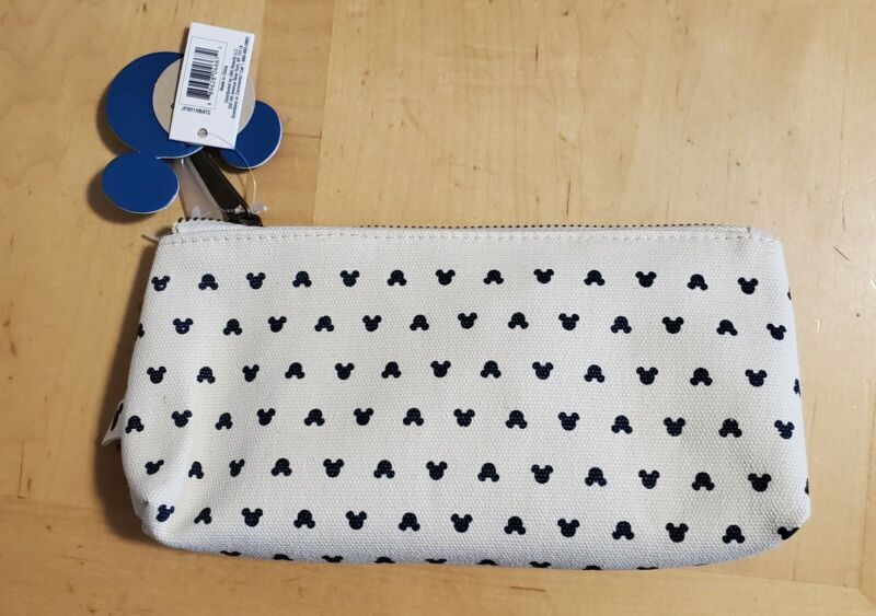 DISNEY X JUNK FOOD MICKEY MOUSE CANVAS MAKEUP ZIP COSMETIC BAG NWT