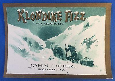 Original Antique KLONDIKE FIZZ Soda Bottle Label BOONVILLE IND John Derr