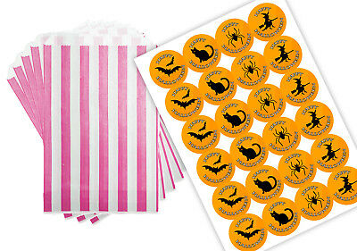 Halloween Party Purple & White Sweet Party Bags with 45mm stickers x - Halloween Party Sweets