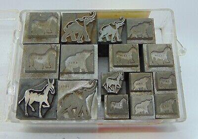 Letterpress Printing Blocks Elephants Donkeys All Metal