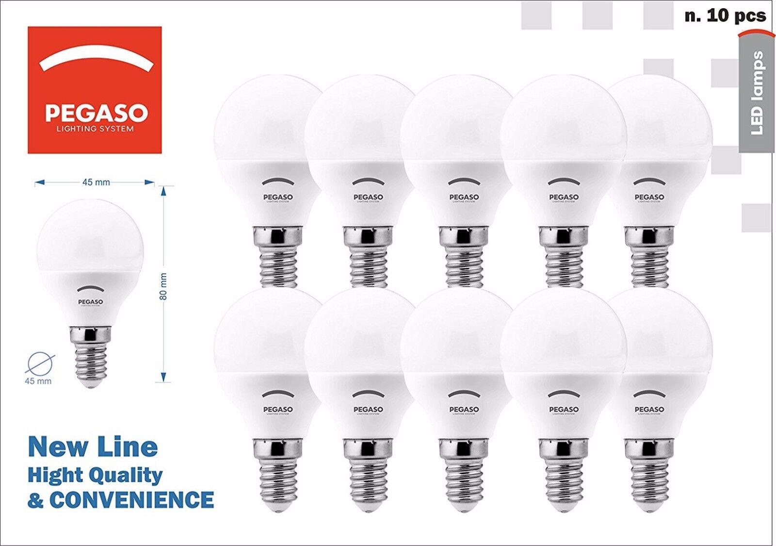 10 lampadine LED Pegaso sfera A+ P45 E14 5W 7W luce calda naturale fredda