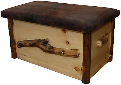 Rustic Aspen Log Blanket Chest with Seat - Amish Made in the USA ()