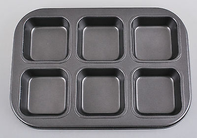 Non Stick Muffin Pan Tin Square Steel Tray Baking Rectangle Cupcake Cake 26x18cm Non-stick Steel Muffin Pan