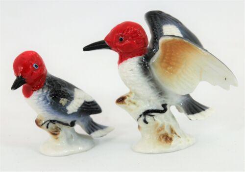 Redheaded Woodpecker Porcelain Figurines Japan Bone China by Art Metal