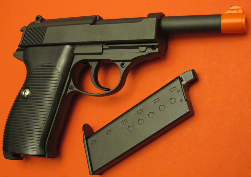 Full Metal Body,& Metal Magazine Walther P38 Style Airsoft Spring Pistol