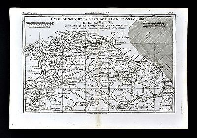 1779 Bonne Map Granada Colombia Guiana Brazil Lake Parime Caracas South America
