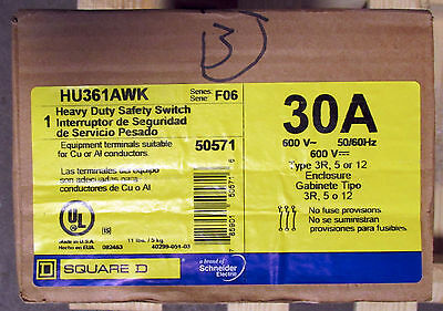 O Square D 30 Amp Safety Switch Hu361awk 512 Or 3r Outdoor Nib New