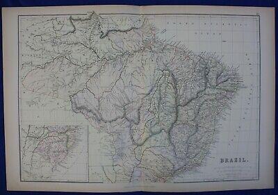 BRAZIL, SOUTH AMERICA, original antique map, Blackie, 1884