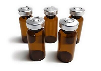 10ml Sterile Amber Glass Vials - 5 Pack - Free Shipping