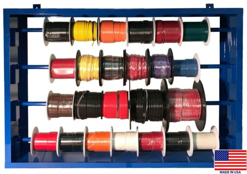 (24) Automotive Primary Wire 100 FT Roll & Steel Spool Rack Assortment 10-22 USA