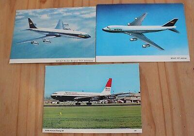 Three cards.BOAC B747 & B707. British Airtours B707.