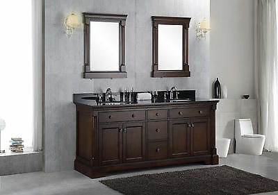 "New 72"" Solid Wood Double Bathroom Vanity Sink Cabinet w/ Black Granite Top"