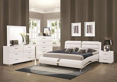 STANTON-Ultra Modern 5pcs Glossy White Queen Size Platform Bedroom Set Furniture
