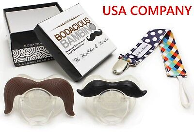 B.B. Mustache Pacifier 2-Pack + Pacifier Clip, Cute & Funny Pacifiers | - Novelty Pacifiers
