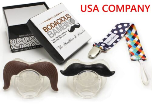 B.B. Mustache Pacifier 2-Pack + Pacifier Clip, Cute & Funny Pacifiers [BOXLESS]