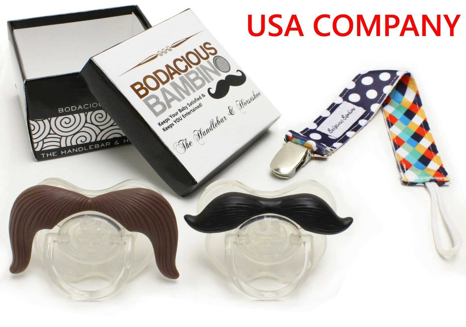 B.B. Mustache Pacifier 2-Pack + Pacifier Clip, Cute & Funny