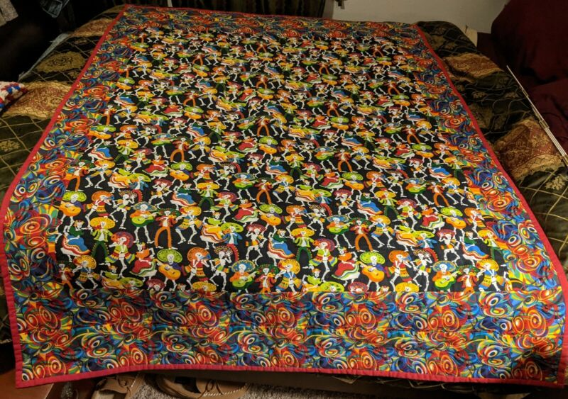 "Colorful Handmade Quilt Blanket 70"" x 50"" - Dia de los Muertos - Day of the Dead"