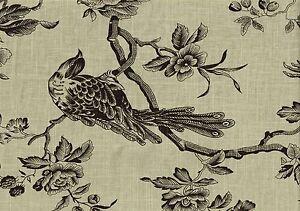 Golding Fabric Aviary Bird Toile Onyx  Linen  Drapery Upholstery