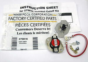 Whirlpool OEM 279816 Dryer Thermostat Thermal Fuse includes AP3094244 PS334299