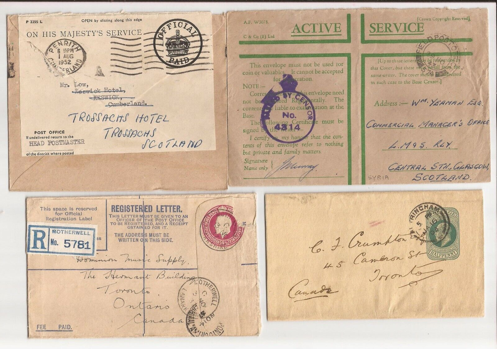 U.K.- 10 Mixed Covers/cards-military, Censored, Registry, Etc-most Postal Statio - $12.00