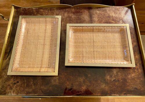 2 Vintage Brass Rattan Plastic Italian Trays, Gabriella Crespi / Christian Dior
