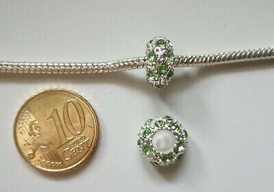 Abalorio pulsera europea cristal X 2 UNIDADES verde 11 mm baño plata