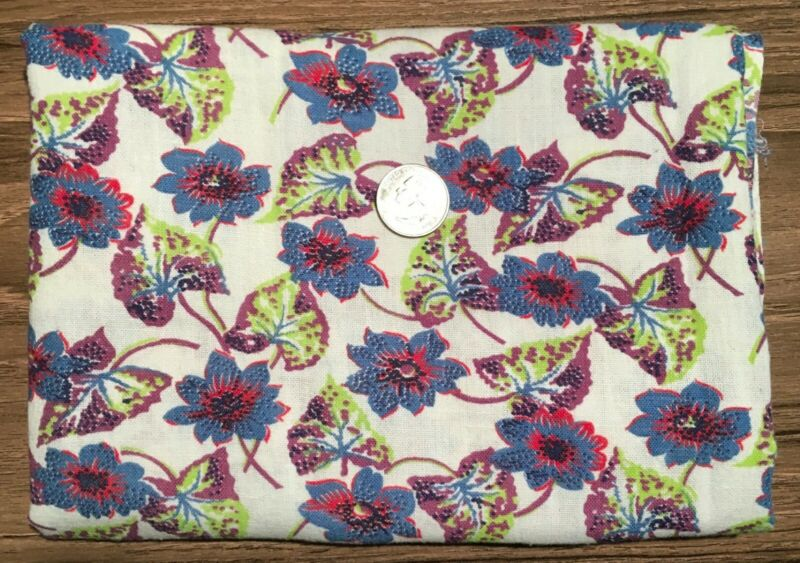 Cotton 36x18 full feed sack blue & red flowers w/green & purple leaves on cream