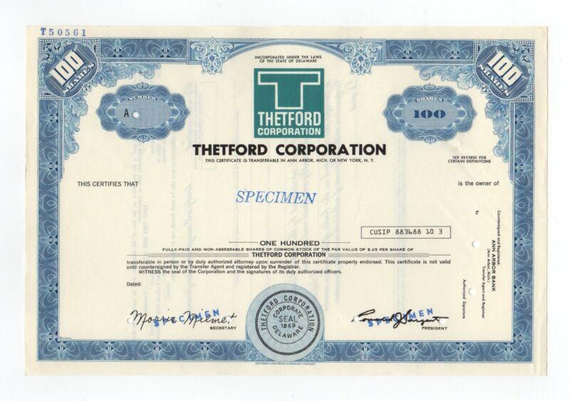 SPECIMEN - Thetford Corporation Stock Certificate