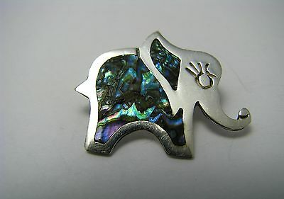 """HANDCRAFTED STERLING SILVER BROOCH PIN ABALONE """"Elephant"""" by JHE Taxco Mexico"""