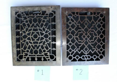 Two Antique Cast Bronze Iron Heat Grates w/ Louvres 8 X 10 Restoration