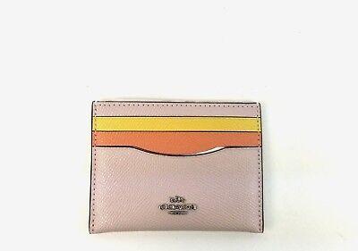 Coach Wallet Mini Colorblock Leather Flat Credit Card Case 12070 (Pink Multi) (Mini Flat Wallet)