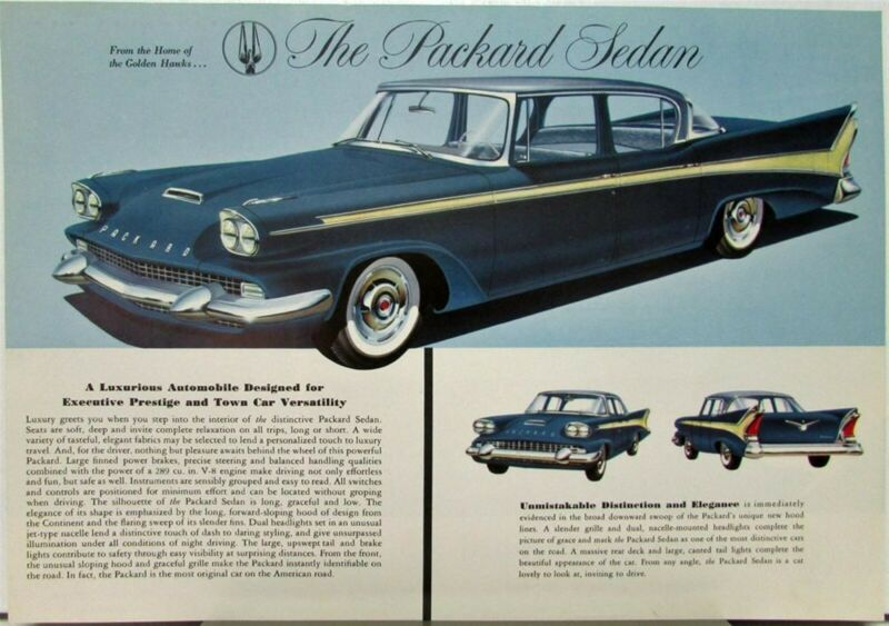 1958 Studebaker Packard Sedan Color Data Sheet Original