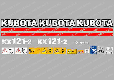 Kubota Kx121-2 Mini Digger Complete Decal Set With Safety Warning Signs