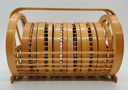 Vintage Jamaica Wicker/ Bamboo Coasters & Caddy - Set Of 6 Coasters