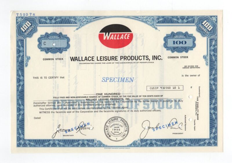 SPECIMEN - Wallace Leisure Products, Inc. Stock Certificate