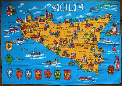 VINTAGE LINEN TEA TOWEL / SICILIA / MAP TRAPANI PALERMO ETNA ENNA MONTIEREI  /17
