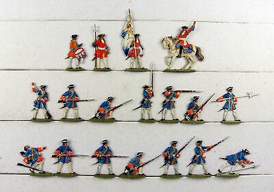 Zinnfiguren flach 30mm, Bayern 1700, Dragoner im Gefecht